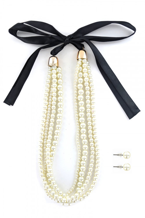S1-3-2-LBN3527BE BEIGE QUADRUPLE PEARL NECKLACE WITH BLACK RIBBON AND MATCHING STUD EARRINGS SET/3SETS