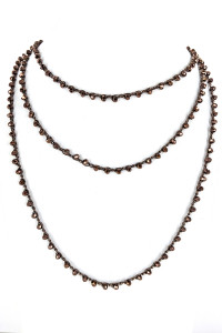 "S1-3-4-LBN3529BR 80"" ENDLESS STRAND BROWN GLASS BEADED FASHION NECKLACE/3PCS"