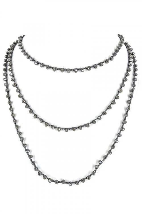 "S1-2-4-LBN3529GR 80"" ENDLESS STRAND GREY COLOR GLASS BEADED FASHION NECKLACE/3PCS"