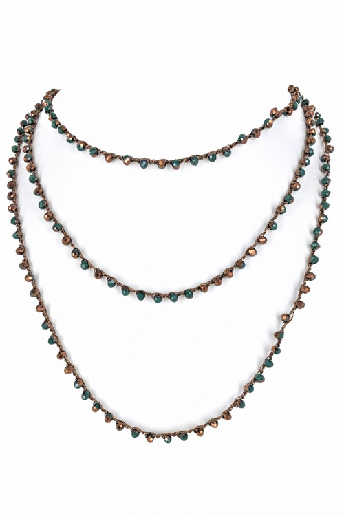 "S1-1-5-LBN3529MU 80"" ENDLESS STRAND MULTICOLOR GLASS BEADED FASHION NECKLACE/3PCS"