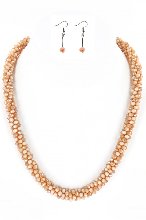 S1-3-2-LBN3530BE BEIGE CRYSTAL BEADED FASHION NECKLACE WITH MATCHING EARRINGS SET/3SETS