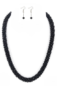 S1-3-2-LBN3530BK BLACK CRYSTAL BEADED FASHION NECKLACE WITH MATCHING EARRINGS SET/3SETS