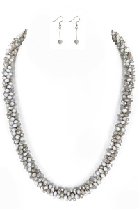 S1-3-2-LBN3530GR GREY CRYSTAL BEADED FASHION NECKLACE WITH MATCHING EARRINGS SET/3SETS