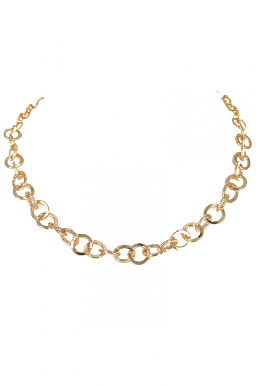 S1-5-4-LBN3533 GOLD CIRCLES NECKLACE/3PCS