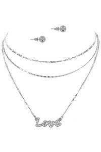 S1-7-3-LBN3545 SILVER TRIPLE CHAIN LOVE PENDANT & EARRINGS SET/3SETS