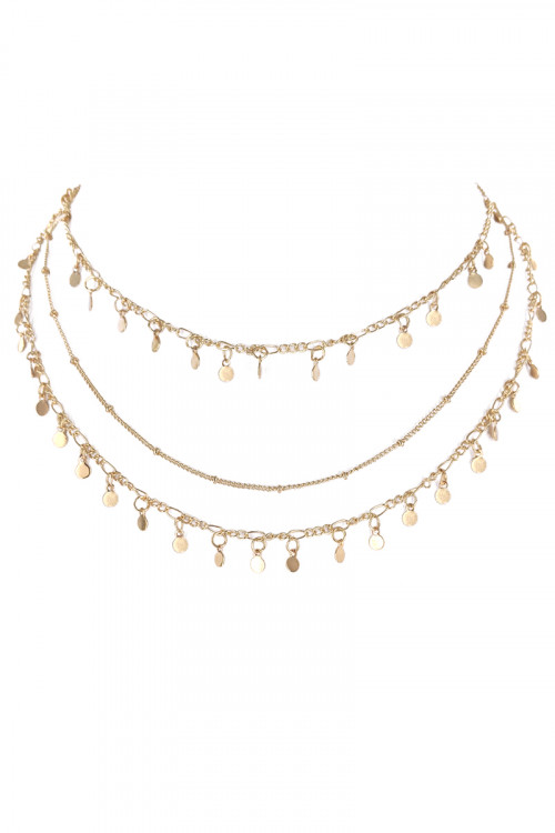 S1-1-5-LBN3548GD GOLD TRIPPLE CHAIN WITH MULTIPLE CHARMS AND MATCHING STUD EARRINGS SET/3SETS