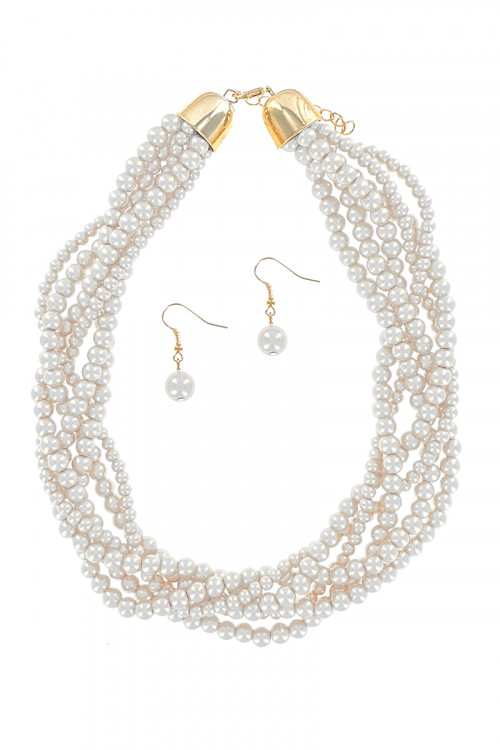 S1-6-4-LBN3550BE BEIGE MULTI TWIST PEARL NECKLACE & EARRINGS SET/3SETS