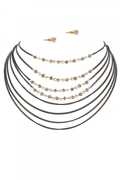 S1-7-3-LBN3704 MULTI LAYER BLACK BEADED NECKLACE & EARRINGS SET/3SETS