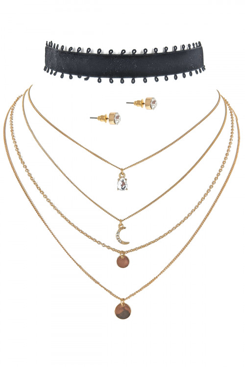 S1-7-3-LBN7928GD GOLD CHOCKER AND MULTI CHAIN NECKLACE WITH STUD EARRINGS SET/3SETS