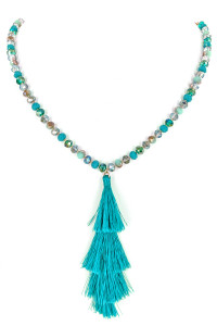 S1-1-2-LBN8102TQ CRYSTAL BEADED TASSEL NECKLACE & EARRING SET/3SETS