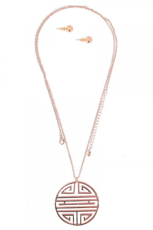 S1-2-4-LBN8139RG ROSE GOLD PENDANT FASHION NECKLACE AND EARRING SET/3SETS