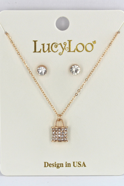 S1-2-2-LBN8151GD GOLD LOCK PENDANT WITH STUD EARRINGS SET/3SETS