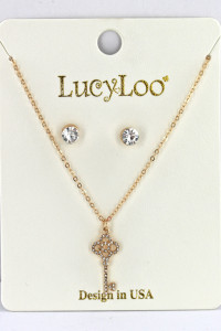 S1-2-2-LBN8152GD GOLD KEY PENDANT WITH STUD EARRINGS SET/3SETS