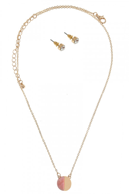 S1-6-2-LBN8153GD GOLD FASHION NECKLACE WITH MATCHING STUD EARRINGS SET/3SETS