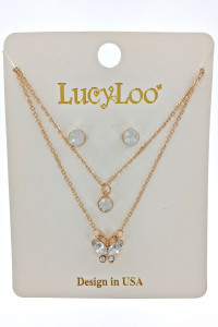 S1-6-2-LBN8156GD GOLD DUAL CHAIN FASHION RHINESTONE NECKLACE AND STUD SET/3SETS