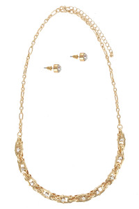 S1-6-3-LBN8161GD GOLD HANDMADE NECKLACE WITH STUD EARRINGS SET/3SETS