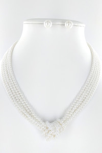 S1-1-1-LBN8163 PEARL KNOT FASHION NECKLACE & EARRING SET/3SETS