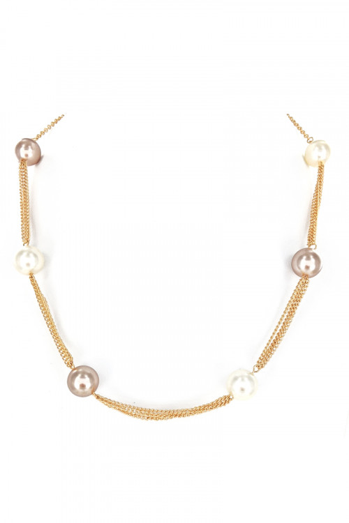 S1-5-4-LBN8165MU GOLD NECKLACE WITH DUAL COLOR PEARLS AND MATCHING EARRINGS SET/3SETS
