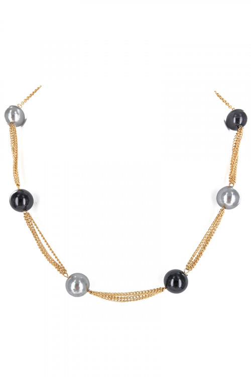 S1-6-4-LBN8165MU2 GOLD NECKLACE WITH DUAL COLOR PEARLS AND MATCHING EARRINGS SET/3SETS