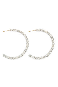 S22-7-2-NE1662GDCR - RHINESTONE HOOP EARRINGS - CLEAR/6PCS