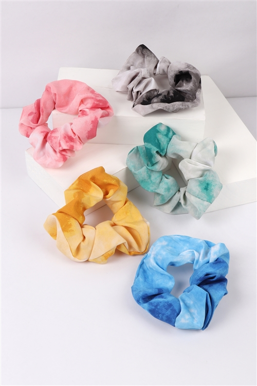 S22-13-4-NHS1500- TIE DYE TWO TONE SCRUNCHY ASSORTED HAIR ACCESSORIES/12PCS