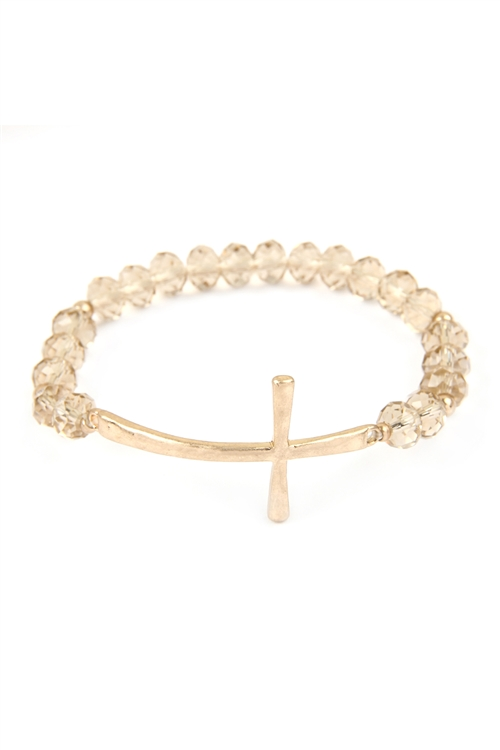 A1-3-5-OB3132CHAMP-WG- CROSS WITH RONDELLE BEADS STRETCH BRACELET - CHAMPAGNE/6PCS