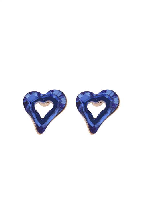 S24-2-3-OEA839GDSAP-GLASS OPEN HEART POST STUD EARRINGS-SAPPHIRE/6PAIRS