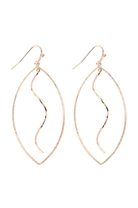 S1-7-3-OEB388GD - LEAF SHAPE OPEN DANGLING EARRINGS - GOLD/6PCS