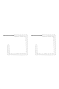 S1-8-3-OEB426WS - SQUARE SHAPE TEXTURED HOOP EARRING - MATTE SILVER/6PCS