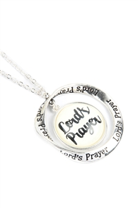 "S18-5-2-ON2252AS - ""LORD'S PRAYER"" GLASS BUBBLE TWIST HOOP PENDANT NECKLACE /6PCS"