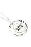 "S19-5-2-ON2255AS - ""SERENITY PRAYER"" GLASS BUBBLE TWIST HOOP PENDANT NECKLACE /6PCS"