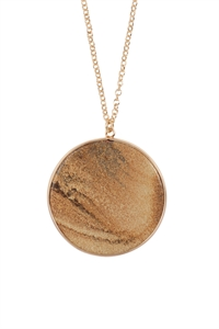 S24-2-3-ONA363GDPJS-ROUND STONE PENDANT NECKLACE-BROWN/6PCS