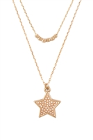S25-4-4-ONA399WGCRM-TWO LAYERED STAR PENDANT NECKLACE MATTE GOLD CREAM/6PCS