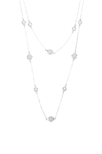 S22-12-5-ONA579SVCRY- ACRYLIC STONE STATION LAYERED NECKLACE - SILVER CRYSTAL/6PCS