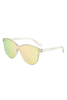 S17-3-5-P30183-FT-CM - SOLID ONE PIECE FLAT COLOR MIRROR LENS SUNGLASSES /12PCS