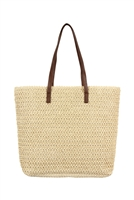 S28-7-1-PB0033-BE-STRAW TOTE BAG - BEIGE/6PCS