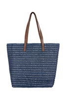 S28-7-1-PB0033-NV-STRAW TOTE BAG - NAVY/6PCS