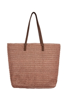 S28-7-1-PB0033-OFFPK-STRAW TOTE BAG - OFF PINK/6PCS