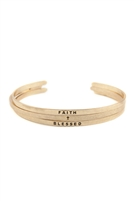 "S25-4-1-PBA778WG - ""FAITH AND BLESSED"" BANGLE BRACELET SET - MATTE GOLD/6PCS"