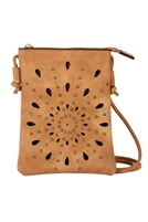 S20-5-3-PC0140-6-MUSTARD - TEARDROP BURST MINI CROSSBODY LEATHER BAG CAMEL/6PCS