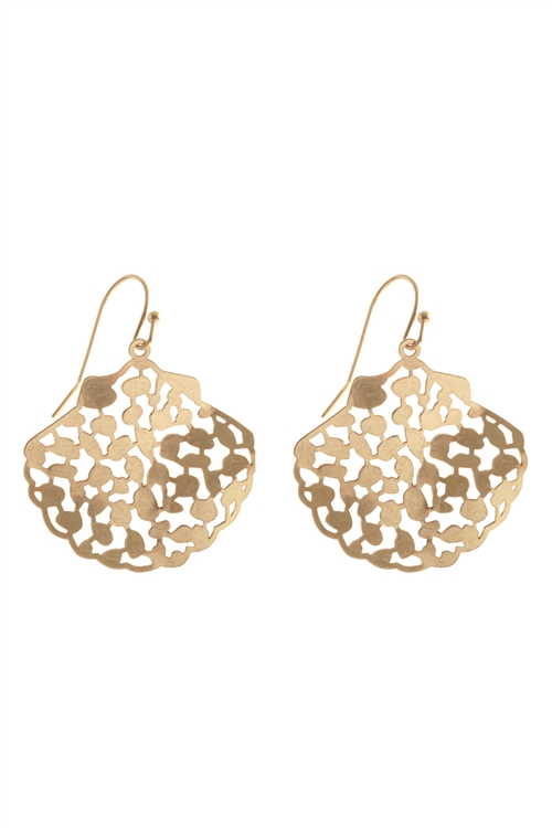 S1-5-3-PE3088WG - METAL FILIGREE SHELL FISH HOOK EARRINGS-MATTE GOLD/6PCS
