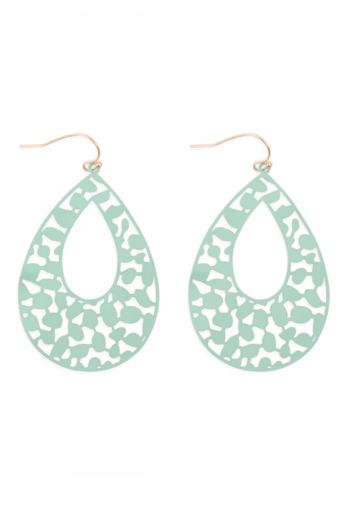 S1-3-4-PE3127WGMIN - LASER CUT FILIGREE TEARDROP FISH HOOK EARRINGS-MINT/6PCS