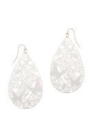 A2-2-2-PE3146WGWHT- METAL FILIGREE BUTTERFLY TEARDROP HOOK EARRINGS-WHITE/6PCS