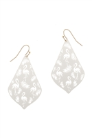 A2-2-2-PE3148WG-WHT- METAL FILIGREE FLAMINGO DROP EARRINGS-WHITE/6PCS
