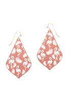 A2-2-2-PE3148WGLPK- METAL FILIGREE FLAMINGO DROP EARRINGS-LIGHT PINK/6PCS