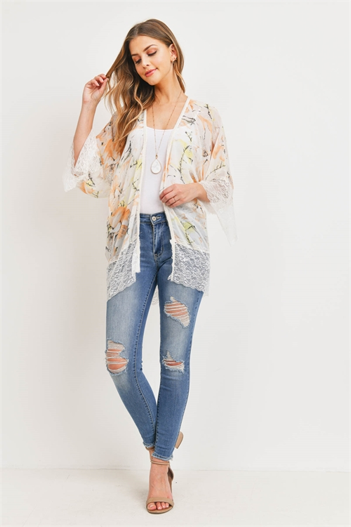 S29-8-4-PN197X004T2 - FLORAL PRINTED LACE KIMONO -IVORY LIGHT PEACH /6PCS