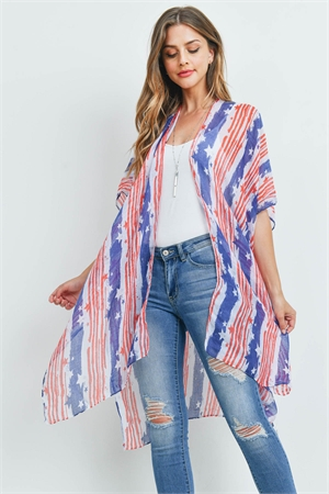 S21-10-1-PN213X028AM - USA ACCENT STRIPE OPEN FRONT KIMONO-RED BLUE /6PCS