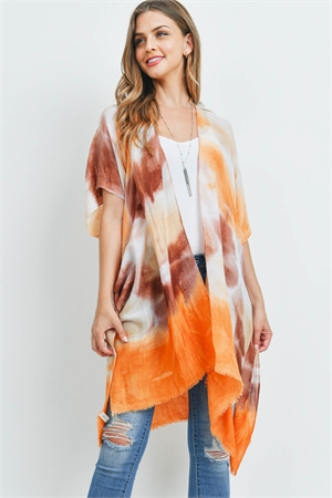 S21-7-1-PN213X030V - TIE DYE OPEN FRONT KNEE LENGTH KIMONO-ORANGE/6PCS
