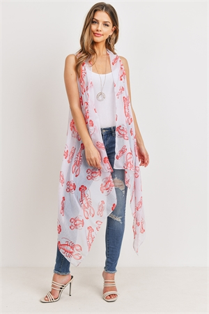 S20-8-5-PN222X051-WHITE LONG OPEN FRONT PRINTED LOBSTER KIMONO VEST/6PCS