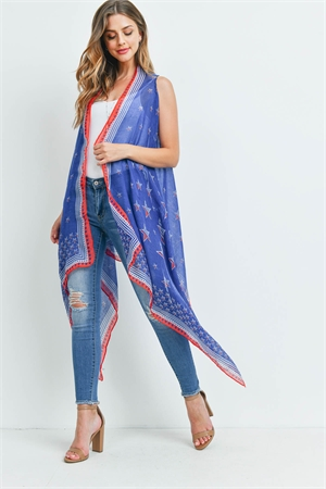 S21-8-3-PN222X063AM - USA ACCENT STAR OPEN FRONT KIMONO VEST-BLUE/6PCS
